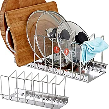 Pan Organizer Grigio Scuro Padelle Espandibile Pan Rack Organizzatore pu/ò Essere Esteso A 22.25 betterthingshome 7 Trovati 7 Scomparti Regolabili Holder Dispensa Armadio Bakeware 7
