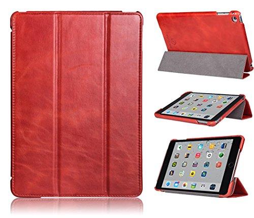 FUTLEX - Custodia smart per iPad Air 2 in vera pelle e in stile vintage - Rosso - Design esclusivo - Posizioni di supporto multiple - Funzione Standby/Riattiva automatica - Artigianale - 100% vera pelle - Massima protezione