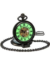 Sewor Gentleman Style sculpté Squelette lumineux remontage manuel montre de poche (Debout noir)