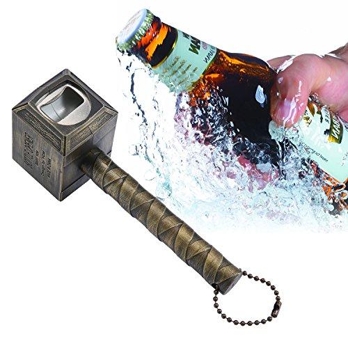 niceEshop Bier Flaschenöffner, Hammer von Thor Flaschenöffner lustig Bier, Gold