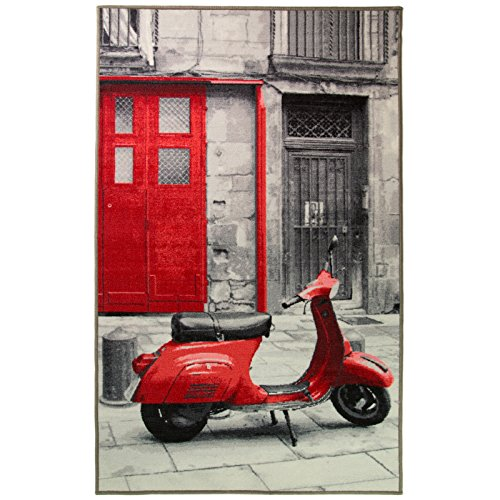 Just Contempo Vintage Mod Scooter Bike Teppich, rot, 100x 160cm