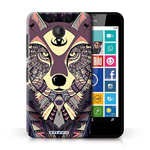 Coque en plastique pour Nokia Lumia 635 Collection Motif Animaux Aztec - Loup-Rouge Loup-Cramoisi