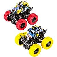 m zimoon Echar para Atrás Coche Vehículos de Juguete Friction Powered Monster Camiones 360 Degree Rotary Fuera del Camino Carros para Niños Niñas (2 Piezas, Amarillo Rojo)
