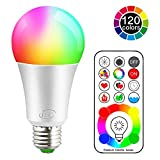 LED Glühbirne 120 Farben 10 Watt RGBW Farbige Leuchtmittel RGB+Weiß Lampe Edison Farbige Leuchtmitte Farbwechsel Lampen -E27 Fassung LED Birnen - Kabellos Fernbedienung inklusive