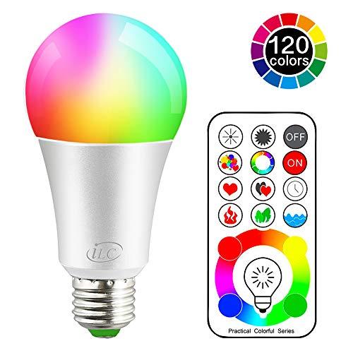 LED Glühbirne 120 Farben 10 Watt RGBW Farbige Leuchtmittel RGB+Weiß Lampe Edison Farbige Leuchtmitte Farbwechsel Lampen -E27 Fassung LED Birnen - Kabellos Fernbedienung inklusive -