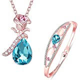 #10: Om Jewells Rose Gold Jewellery Combo of Stylish Crystal Drop Pendant and Bangle Bracelet Crafted for Girls and Women CO1000056