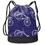 Osmykqe Bicycle On A Colored Multi-Functional Unisex Beam Mouth Backpack&Drawstring Double Shoulder Bundle Bag Backpack School Sport Gym