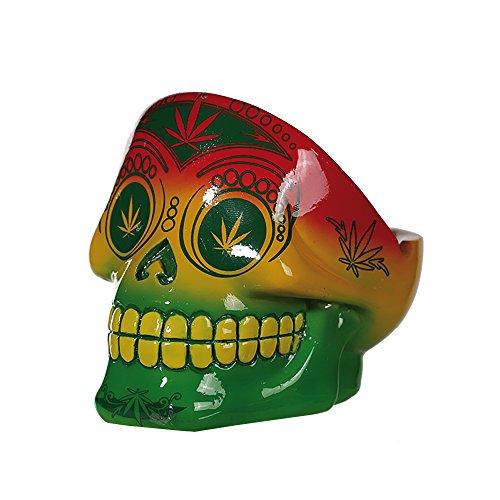 Preis am Stiel Halloween Aschenbecher ''Cannabis Skull'' | Totenkopf Deko