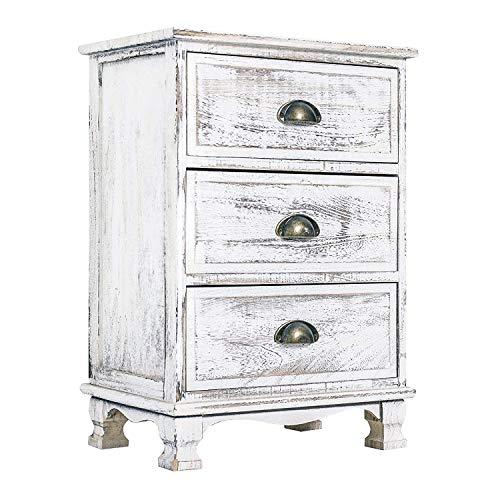 Rebecca mobili comodino cassettiera 3 cassetti legno paulownia bianco shabby camera ingresso (cod. re4268)