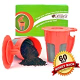 Delibru Reusable K-Carafe 2pcs Fits Perfectly for Keurig 2.0 Machines Refillable Coffee Cups Compatible to 2.0, K200, K300, K400, K500 Series of Machines with Stainless Steel Mesh by DéliBrü