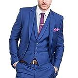 Lilis® Herrenmode Blau Hochzeit Anzüge 3 Stück Jacke Hosen Weste Männer Anzug
