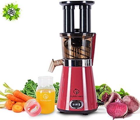 NUTRILOVERS Slow Juicer, elektrischer Entsafter für gesunden Obst und Gemüse Saft (350 W Leistung bei nur 60 U/min; 2 Einfüllöffnungen, Vor- und Rücklauf, Presschnecke, spülmaschinenfest) -