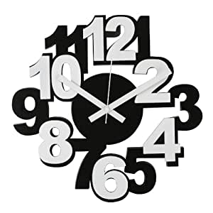 Payless Shop - Horloge Murale en Plastique - Moderne et Stylée - Design Contemporain - Noire & Blanc