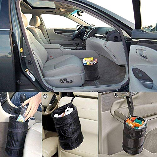 STRIFF Collapsible multipurpose Dustbin for car,home,office and bedroom Pop Up Oxford Cloth Trash Bin/basket Foldable Waste Garbage Container Rubbish Organizer with Adjustable Hanging Strap (Black, 1pc)