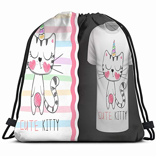 cute cat idea print tshirt hand animals wildlife animal the arts Drawstring Backpack Gym Sack Lightweight Bag Water Resistant Gym Backpack for Women&Men for Sports,Travelling,Hiking,Camping,Shopping Y