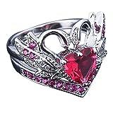 Kronenform weißer Schwan schwarz Verlobungsring Ehering Rubinring YunYoud Hochzeit Engagement Floral Ring modische aus glasringe den