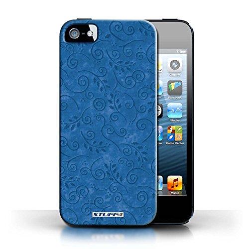 KOBALT® Hülle Case für Apple iPhone 5/5S | Grün Entwurf | Blatt-Strudel-Muster Kollektion Blau