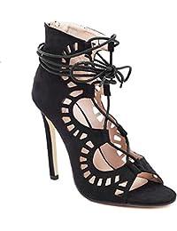 ZWME Zapatos Romanos Con Cordones De Las Mujeres Zapatos Con Cordones Strappy Stilettos Pump Talones De La Bomba Sandalias De Fiesta Gladiador