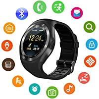 Sepver Smart Watch SN05 Round Smartwatch contapassi fitness tracker con slot per SIM Card TF chiamate notifiche per iOS Android Samsung Huawei Sony LG HTC Google uomini donne bambini Ragazzi ragazze (Nero)