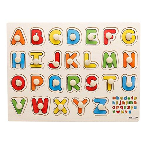 mi ji Transport en Bois Peg Puzzle Jigsaw Bundle Forme Jouets et Jeux pour L'age 2-7 Ans Enfants Enfants Bebe Jouets 1 Set (Lettre)