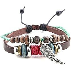 Morella pulsera de cuero para mujeres con anillos beads y colgante alas