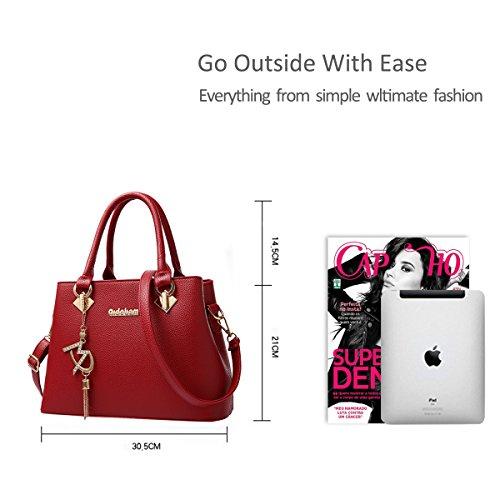NICOLE&DORIS Le donne della borsa di modo di Crossbody borsa a tracolla per le signore Water Resistant Totes morbido PU Viola Vino rosso