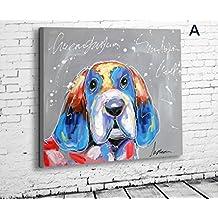 X&L Puro pintado mano moderna moda abstracto pintura moderna Inicio Hotel salón escuela solo sin marco madera pintada (Lindo perrito) , 60*60 (a box) no box