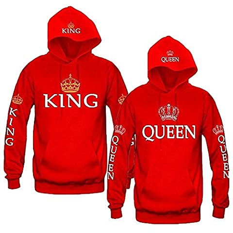 Minetom Couples Hommes Femme Sweat à Capuche Couronne KING QUEEN Impression Manches Longues Hooded Sweatshirt Pull Hoodie Tops Couronne Rouge EU L(Homme)