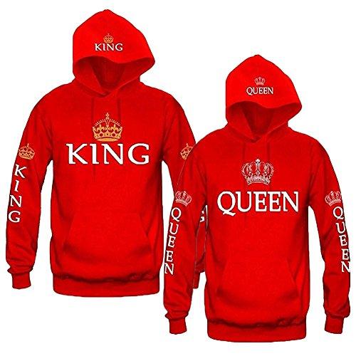 *Minetom Unisex Pullover Queen King 09 Aufdruck Krone*