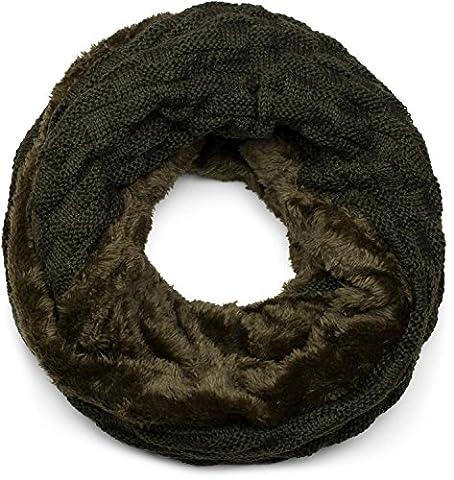 styleBREAKER warmer Feinstrick Loop Schal mit Flecht Muster und sehr weichem Fleece Innenfutter, Schlauchschal, Unisex 01018150, Farbe:Tannengrün dunkel