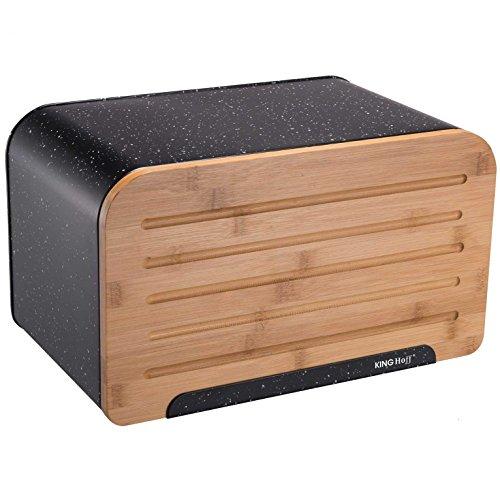 Kinghoff Acier Boîte à pain avec planche à découper KH-1245 Marbre Boîte à pain Boîte à pain