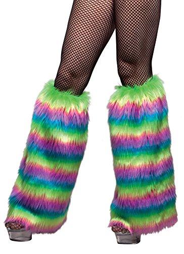 Boland 01771 - Plüsch-Beinwärmer Rave de Luxe für Erwachsene, Einheitsgröße, (Raver Kostüm Halloween)
