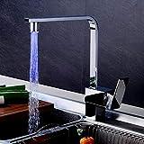 LED 3 Farbewechsel Einhebel Küche Wasserhahn, 360°Schwenkbare Küchenarmatur Spültischarmatur Spüle Spülbecken Mischbatterie Armatur aus Messing Chrom