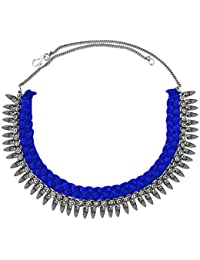 Women Fashion Jewellery New Collection Silver::Blue Metal OxidisedDesign Necklace