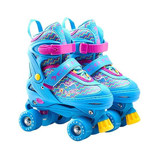 LIJIAN Einstellbare 4-Rad Quad Roller Skates Stiefel Kinder Rollen Blue-S (Quad Roller Skate Räder)