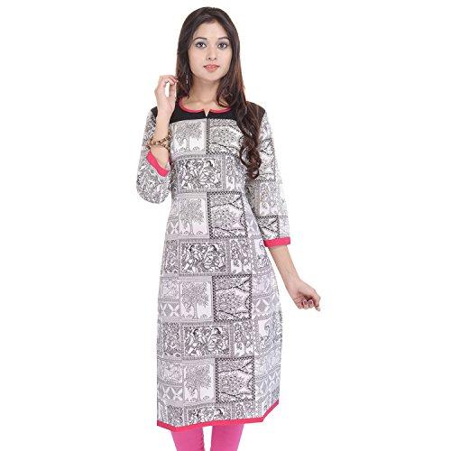 Vaachi Women's Cotton Printed 3/4 Sleeve Kurti (7-white)