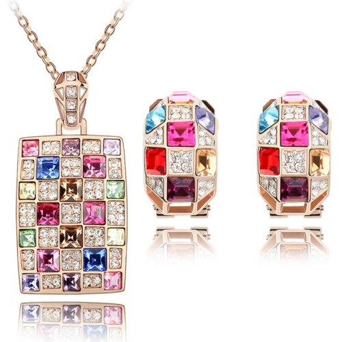 MARENJA Cristallo-Parure Collana e Orecchini Donna Quadrato Placcato Oro Rosa Cristallo Multicolore