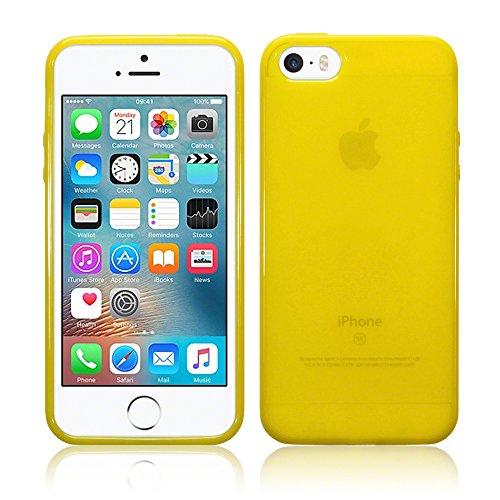 iPhone SE Zubehör, Terrapin TPU Schutzhülle Tasche Case Cover für iPhone SE Hülle Transparent Pink Transparent Gelb