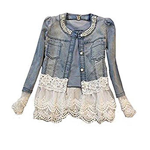 Damen Casual Denim Cute Spitze Short Jeans-Jacke Denim mit Jeansjacke (XXXXL, Blau) Sommer-jeans-jacke