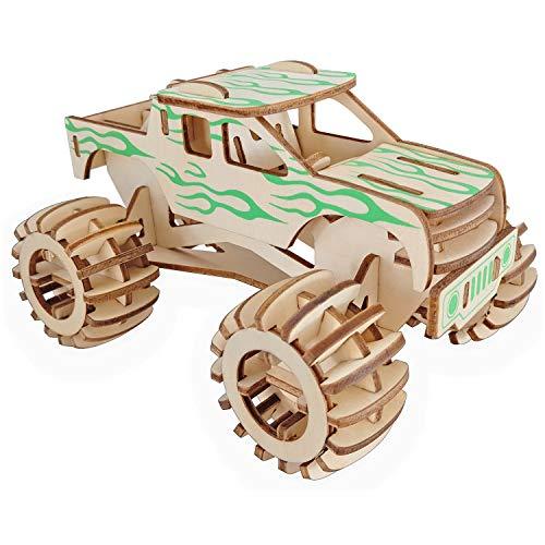 WTUGAIOHG Laserschneiden Holz 3D Puzzle Puzzle, Monster Truck, Jungen Mädchen Erwachsene DIY Bildung Spiel Spielzeug Handgemachtes Spielzeug Geburtstagsgeschenk (Holz-monster-truck)