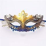 SXFMJ Máscara de Halloween Máscara de Fiesta Máscara de Metal de Alto Grado con tachones de Diamantes Máscaras de Chapado de Metal Máscara de Princesa de Media Cara para la Mascarada,Azul