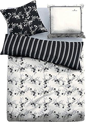 Tom Tailor Satin-Bettwaesche Black & White flowers (Black Satin Bettwäsche)