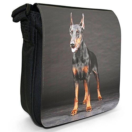 Doberman Pinscher Dog-Borsa a spalla piccola di tela, colore: nero, taglia: S Doberman Standing