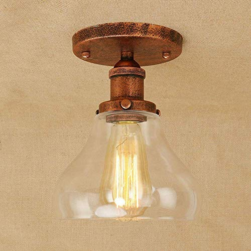Lampenschirm aus Glas Retro Deckenleuchte Antike Vintage Deckenleuchte Industrielles Design Runde Deckenbeleuchtung Decke Dekoration Metall Licht Flur Flur Flur Flur Flur Ganglampe E27 Rust -