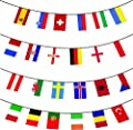MEGA VALUE All 24 x Participating Nations Premium Quality Bunting Flags For The Euro 2016 Football Championships Huge 10m Multi Nation Party Decoration Banner