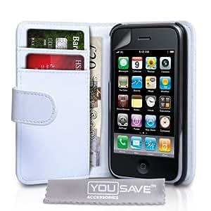 Yousave Accessories Schutzhülle aus PU-Leder für Apple iPhone 3/3 g/3GS, Weiß