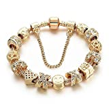 Armband Charms überzogenes Charme EMOJI Gold und Kristall Perlen
