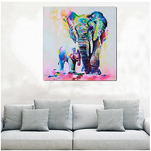 ODN Colorful Palette Abstract Impression Oil Painting Elephant Mother and elephant child Wall Picture Prints on Canvas Wall Art for Bedroom Living Room (40x40cm)