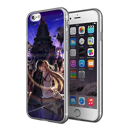 Sword Art Online – Kirito und Asuna Silikon Gel Gummi Stoßfest XS Schutzhülle Handy Hülle für iPhone 6/6S iPhone 7/8 iPhone X/XS iPhone XR Cool Anime Geschenk