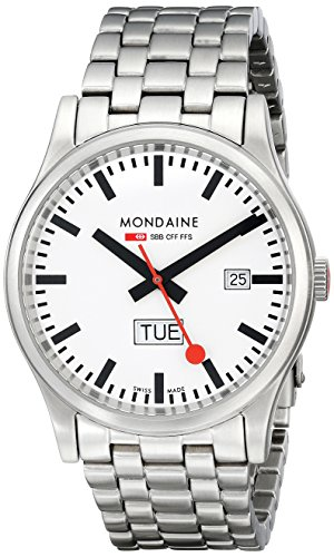 Mondaine Men's Quartz Watch with White Dial Analogue Display and Silver Stainless Steel Bracelet A667.30308.16SBM